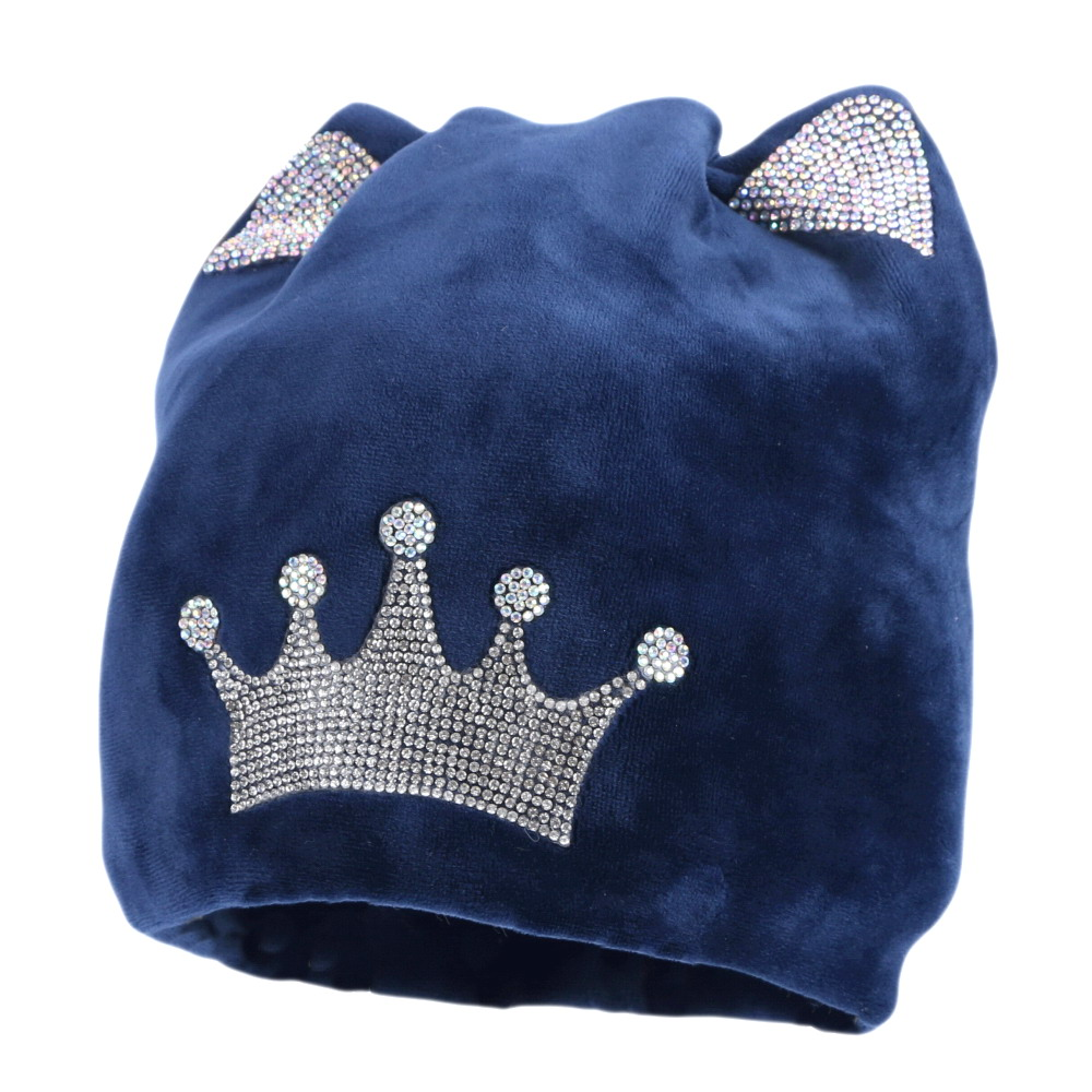 wholesale women winter   beanie   new winter hats fashion girl crystal crown style   beanies   outdoor thermal thick   beanies     skullies