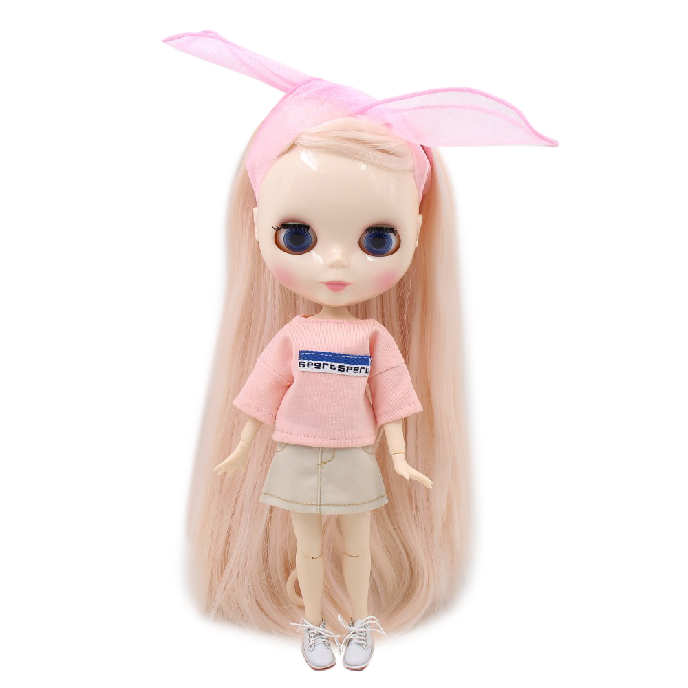 factory blyth doll 280BL2352 0510 pale Pink hair side part white skin JOINT body 30cm 1