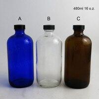 16 Oz Large Blue Clear Amber 480ml Boston Round Glass Bottle PolySeal Black Phenolic Cone Lined
