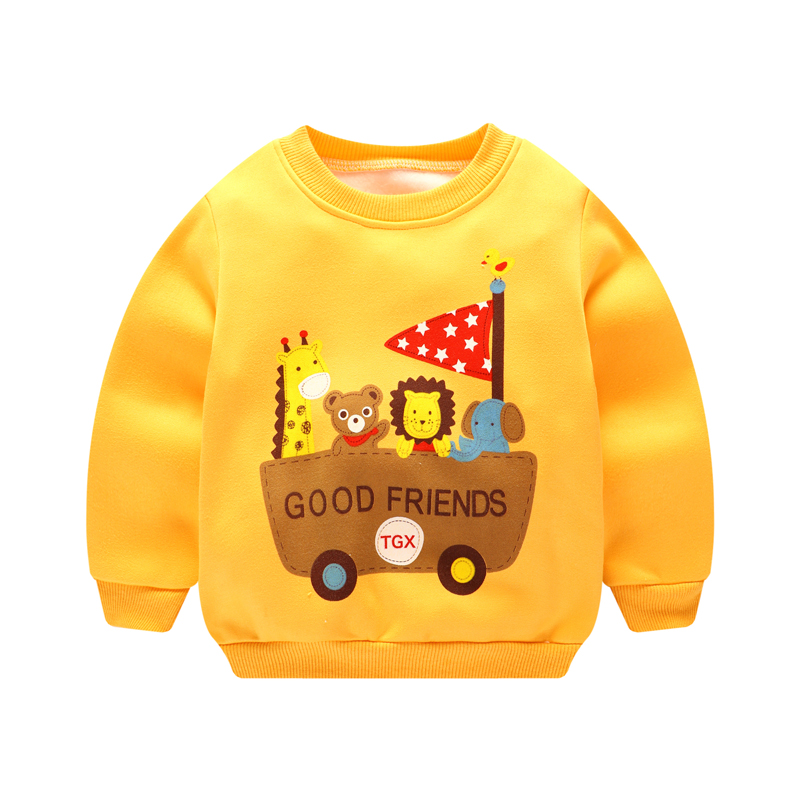 2017 Autumn Baby Girls boy Clothing Cartoon car Printed Long Sleeve Newborns Sweater Boy Girl Thicker Top Shirts Sweatshirt