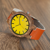 Reloj de madera amarillo pulso de cuero naranja unisex