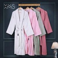 XMS Фирменная Новинка банные халаты для влюбленных пар с вышивкой теплая парная Пижама Халат леди 100% хлопок одежда для сна халаты Мужской мяг