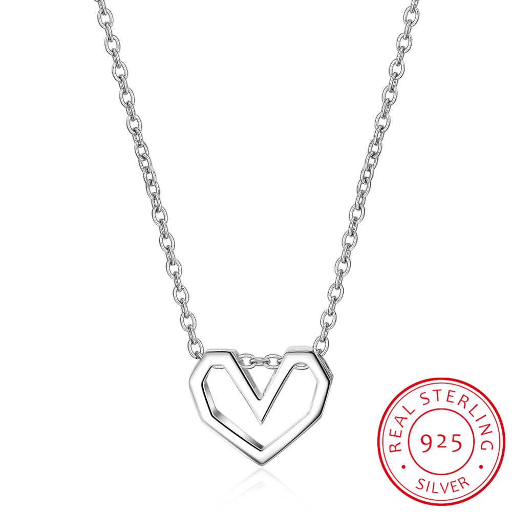 2018 Frauen Mode 100% 925 Sterling Silber Schmuck Hohl Herz Anhänger Kurze 40 Cm Halskette Nettes Geschenk Mädchen Dame Ds302