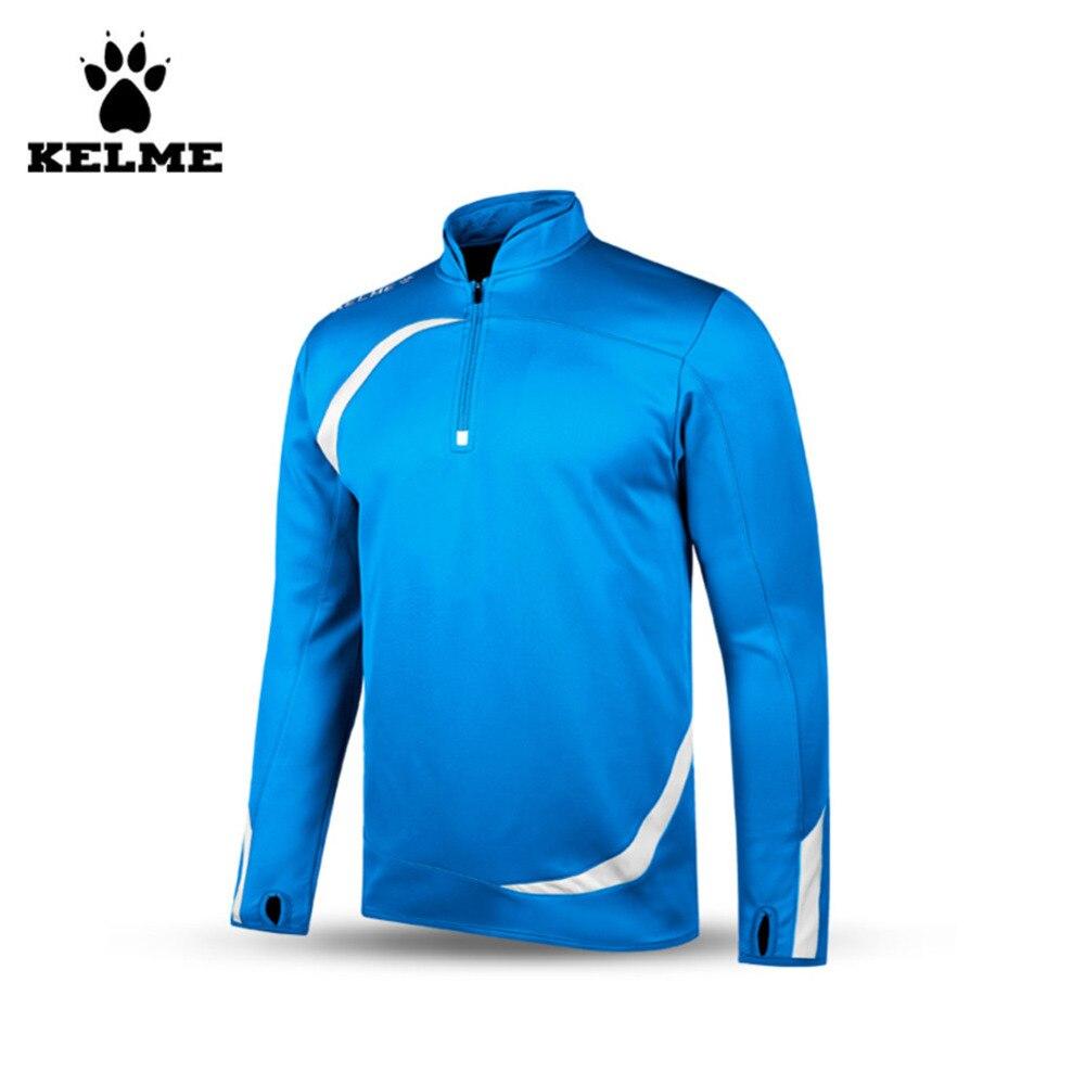 Kelme K15Z316 Men Breathable Half Zip Long Sleeve Stand Collar Knit Training Soccer Jersey Blue WhiteKelme K15Z316 Men Breathable Half Zip Long Sleeve Stand Collar Knit Training Soccer Jersey Blue White