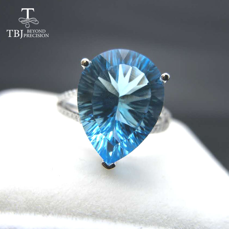 TBJ ,100% natural 10ct blue topaz concave cut pe12*16 gemstone ring in 925 sterling silver jewelry,Big ring for lady with box tbj delicate small ring with natural good color blue tanzanite gemstone lady ring in 925 sterling silver fine jewelry for women