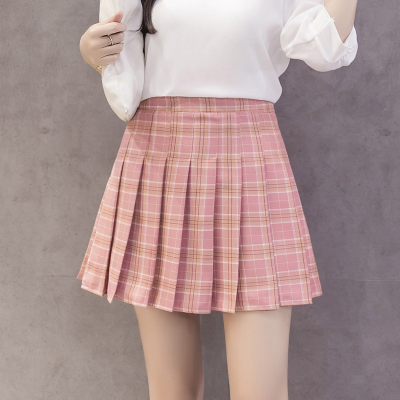 Image 3 - Fashion Korean Summer High Waist Skirt Women School Girl Pleated Skirts With Pants Sexy Red Zipper Mini Plaid Skirt Faldas-in Skirts from Women's Clothing