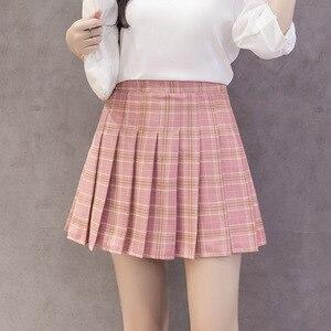 Image 3 - Thời Trang Mùa Hè Hàn Quốc Cao Cấp Váy Nữ Nữ Sinh Xếp Ly Chân Váy Có Quần Đỏ Gợi Cảm Dây Kéo Mini Váy Kẻ Sọc Faldas