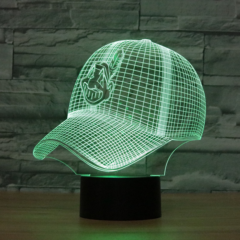 8074 Кливленд Бейсбол шляпа 3D Атмосфера лампы 7 цветов Изменение визуальную иллюзию светодиодные лампы Декор