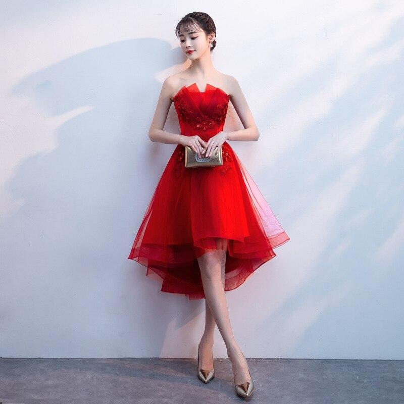 Sexy Red Bridesmaid Dress Graduation Dress 2019  Formal Wedding Party Prom Reflective Dresses Robe De Soiree Vestido De Noiva