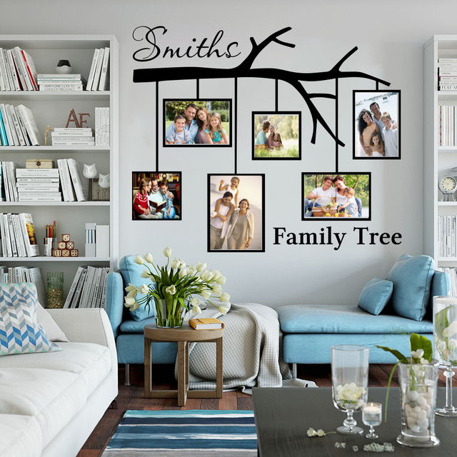 Wallverbs Family Tree Personalized Picture Frame Set: Large Personalized Name Family Tree With Picture Frames
