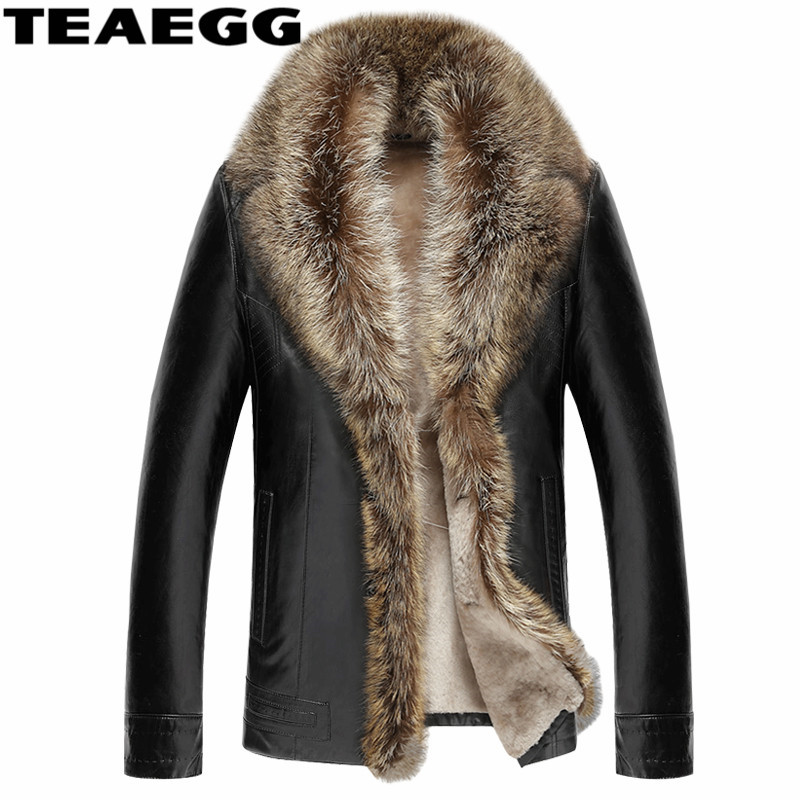 TEAEGG Luxury Man Leather Jacket Coat Real Raccoon Fur Collar Faux Sheep Skin Mens Winter Male Leather Jacket Man Clothes AL132