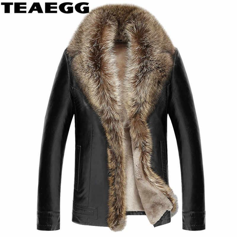 37f7fbd6a89 Teaegg Роскошные Мужская кожаная куртка пальто реального Ракун меховой  воротник искусственной кожи овец Для мужчин зимние