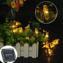 Novelty bee pendants Waterproof Solar Fairy String Lights 20 50 100 200 300 500 LED holiday Christmas for Garden