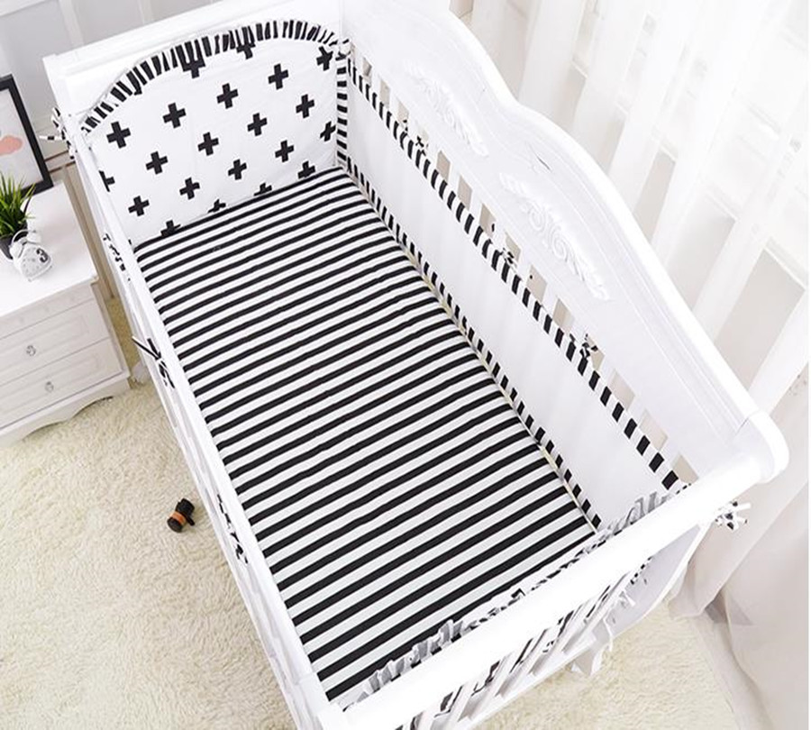5 Pcs Baby Bed Set Bumper Cotton Cozy Baby Mesh Cot Bumper Around Print Cot Sheet bed Around Newborn Baby Bed Bumper Bedding paisely print sheet set