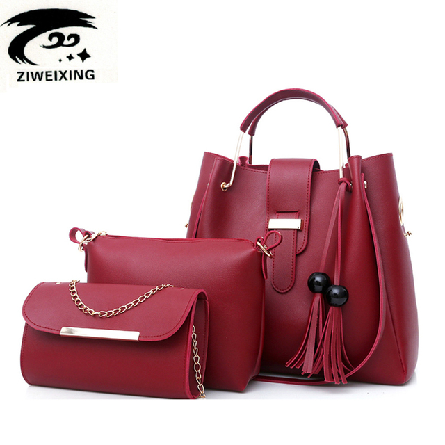 7355778a5756d Frauen 3 Teile satz Handtaschen Pu-leder Schultertasche  Lässig-einkaufstasche Quaste Metall Griff