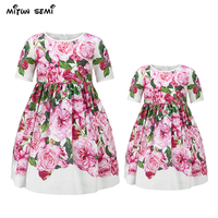 Mitun Semi Floral Family Matching Clothing Mother Daughter Clothes Cotton O Neck Dress Flower Print Mother