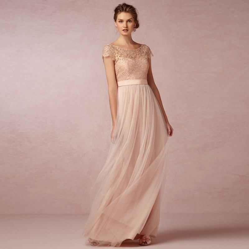 2016 Coral dama de Honor de Encaje Vestido de Novia Se Ruboriza el ...