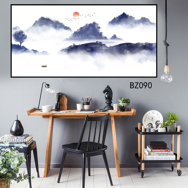 Modern abstract art posters and prints wall art PVC self decals Chinese abstract landscape painting for living room painting in Painting Calligraphy from Home Garden