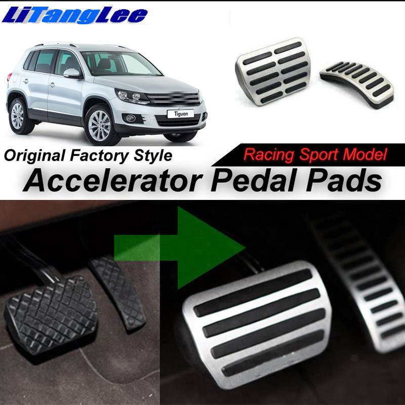 LitangLee Car Accelerator Pedal Pad Cover Sport Racing For Volkswagen VW Tiguan MK2 2016~Onwork AT Foot Throttle Pedal Cover
