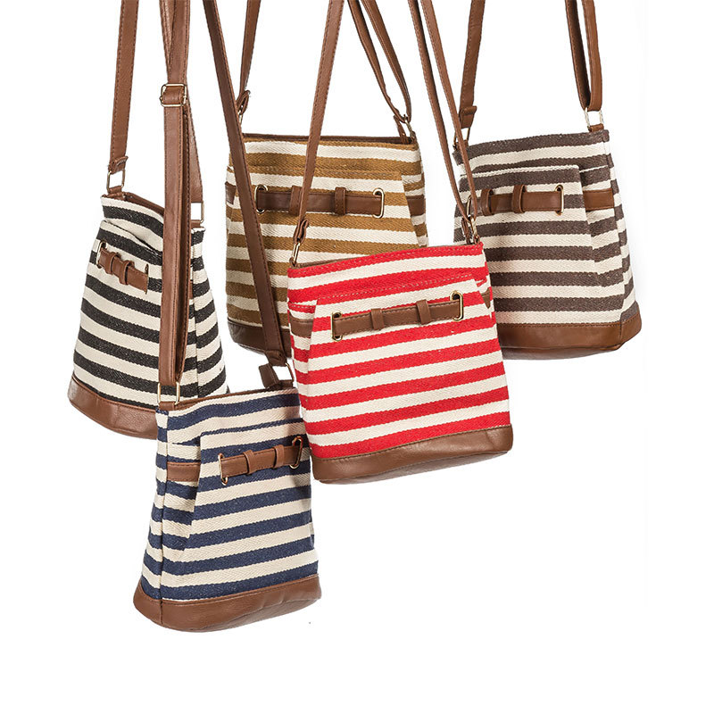 CHARA S BAGS Canvas stripes women messenger bags Drawstring leather Shoulder Bags Female student book bag in Buckets from Luggage Bags