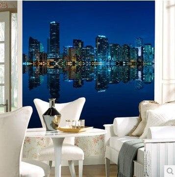 Manhattan 3d papel de paede TV living room sofa HD photo Wallpaper night city at night 3d mural wallpaper
