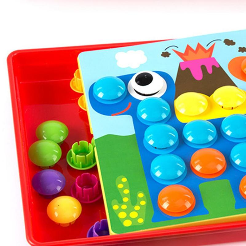 Puzzles Toy Colorful Buttons Assembling Mushrooms Nails Kit   4