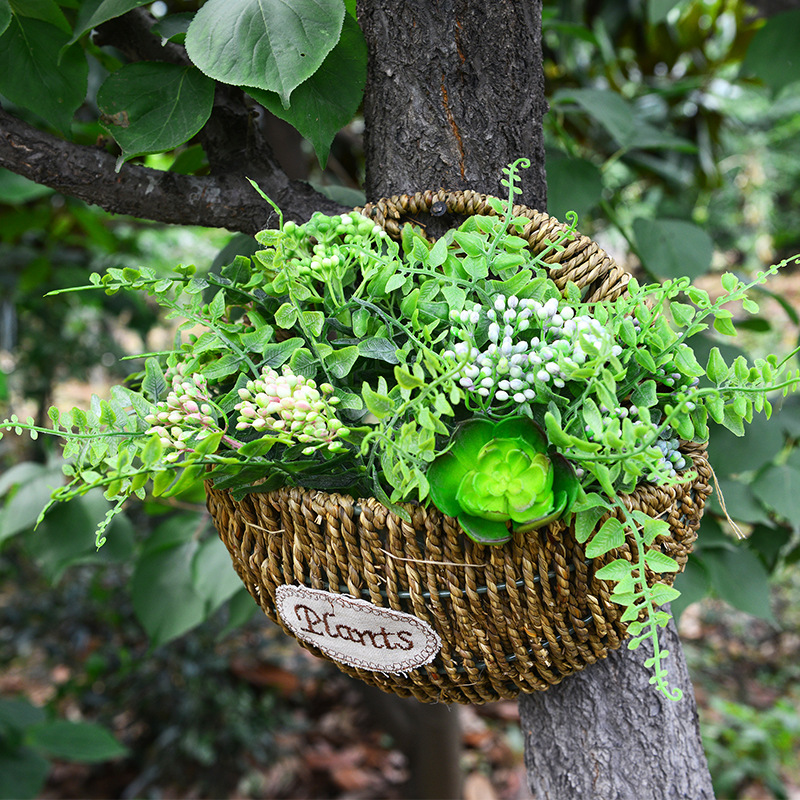WHISM Wall Mount Hanging Wicker Storage Basket Woven Flower Pot Planter  Rattan Vase Home Garden Wall Decor Storage Container In Storage Baskets  From Home ...