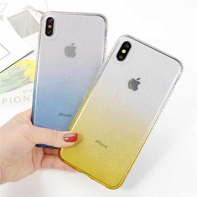 Shining Glitter Bling Diamond Case For iphone X XS Max 6 6s 7 8 Plus Silicon Gradient Transparent Protective Cover Phone Cases