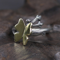 925 Sterling Silver Golden Butterfly Ring