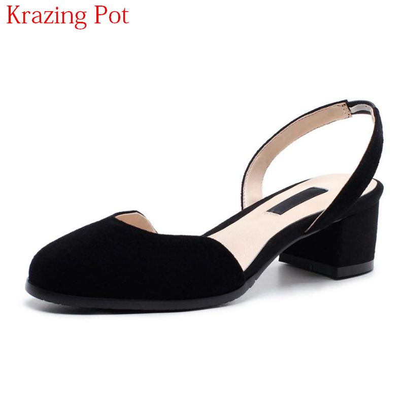 2018 Fashion Kid Suede Summer Shoes Brand Shallow Slingback Round Toe Slip on Med Heels Elastic Band Party Sweet Women Pumps L02 new 2017 spring summer women shoes pointed toe high quality brand fashion womens flats ladies plus size 41 sweet flock t179