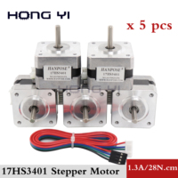 free shipping for 3D printer 5pcs 17HS3401 4 lead Nema17 Stepper Motor 42 motor 42BYGH 1.3A CE ROSH ISO CNC with DuPont line