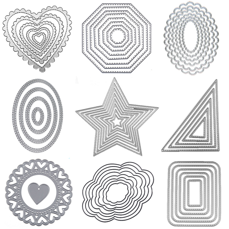 Metal cutting Dies Happy heart Circle die Rectangle Oval Cut dies Lace frame background Craft dies for card making scrapbooking(China)