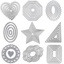 Металлические Вырубные штампы квадратное сердце круг штампы прямоугольные овальные Вырубные штампы кружевная рамка фон ремесленные штампы для изготовления открыток Скрапбукинг