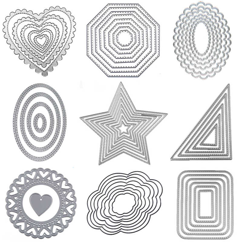 Metal cutting Dies Square heart Circle die Rectangle Oval Cut dies Lace frame background Craft dies for card making scrapbooking