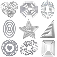 Metal cutting Dies Square heart Circle die Rectangle Oval Cut dies Lace frame background Craft for card making scrapbooking