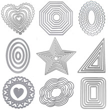 Metal cutting Dies Square heart Circle die Rectangle Oval Cut dies Lace frame background Craft dies for card making scrapbooking(China)