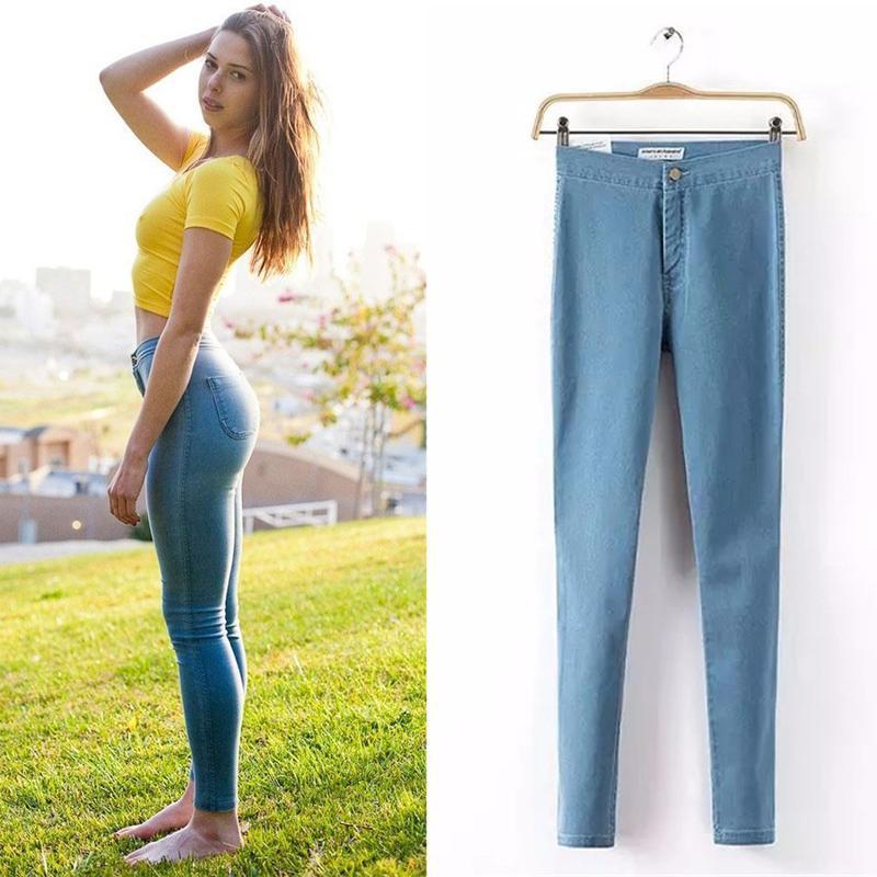 Hot Sale 2017 Fashion Pencil Jeans Woman Casual Denim Stretch Skinny Jeans Vintage High Waist Jeans Women Black Blue Plus Size