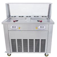 Double pan with 5 storage tank 110/220V flat pans fried ice cream machine ice roll maker shipping by sea