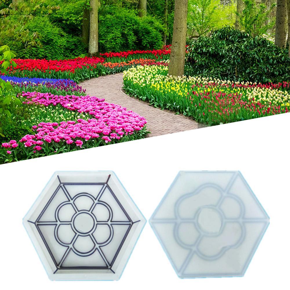 DIY Plum Flower Shape Plastic Path Maker Mold Manually Paving Cement Brick Molds Garden Stone Road Pavement For Garden Home