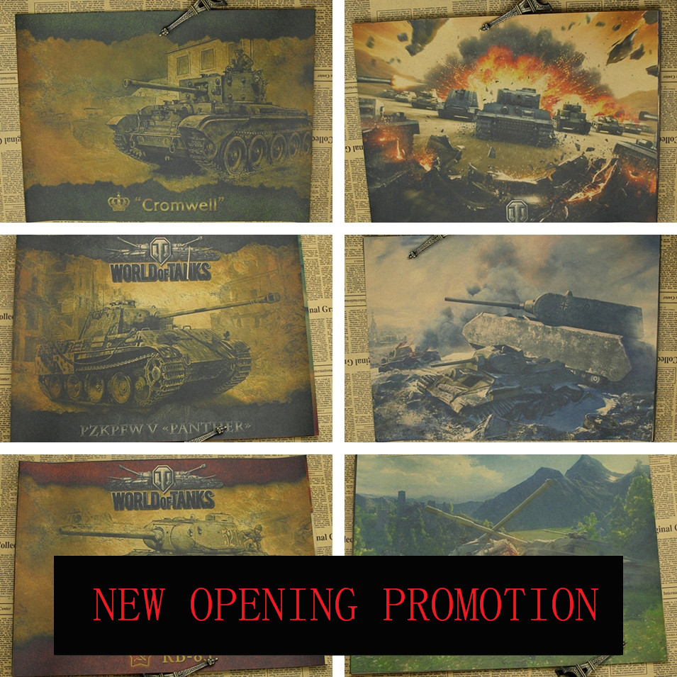 Tank Posters World War II Military German Heavy Strike Retro Wall Chart Game Poster Decorative Painting