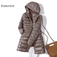 EORUTCIZ Winter Long Down Coat Women Plus Size 7XL Ultra Light Warm Hoodie Jacket Vintage Black Autumn Duck Down Coat LM171