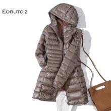 EORUTCIZ zimowy długi płaszcz kobiety Plus rozmiar 7XL Ultra lekka ciepła kurtka z kapturem Vintage czarny jesień płaszcz z kaczego puchu LM171