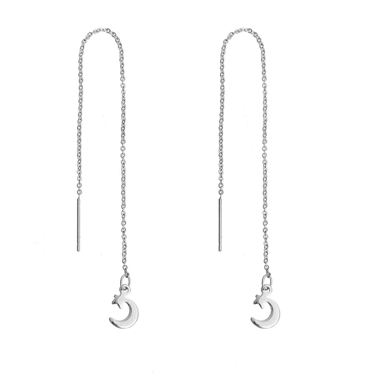 Doreen Box Stainless Steel Ear Thread Threader Earring Silver Tone Half  Moon Star 142cm(