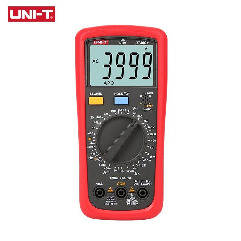 UNI-T UT39C + Multímetro Digital Auto Gama Testador Atualizado a partir de UT39A/UT39C DC AC V/A Ohm/ temp/Freqüência/HFE/NCV teste