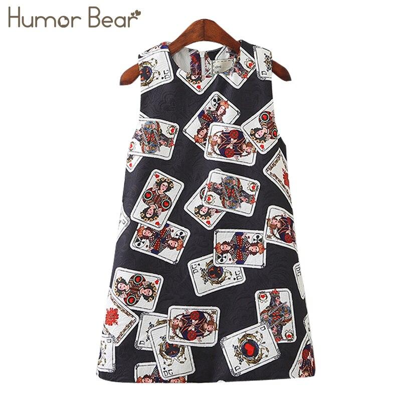 Humor Bear Kids Dress Girls Dress 2018 Brand Style Princess Dress Sleeveless Cartoon Printing for Girls Clothes Dress
