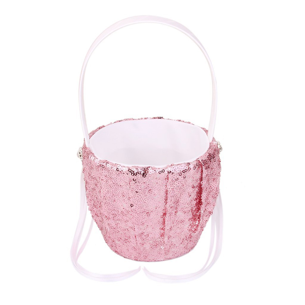 Easter Fashion Sequin Wedding Flower Girl Basket Flower Basket Pink