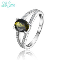L Zuan S925 Fashion Sterling Silver Jewelry Oval Shaped Natural Yellow Brown Tourmaline Rings For Women
