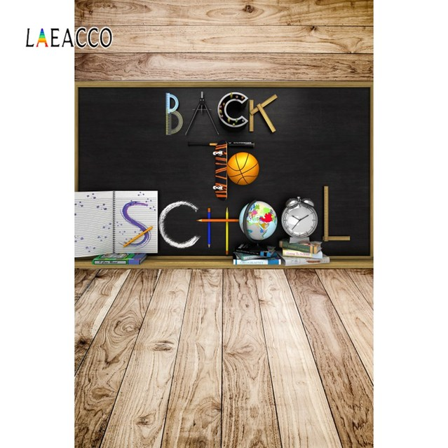 Photo Backdrops Blackboard Back To School Books Study Tools Wooden Floor Baby Portrait Photographic Backgrounds For Photo Studio