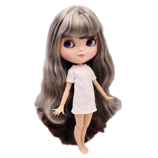 1/6 Joint azone body ICY nude doll small chest brown mix silver gray hair with makeup No.8800/0222 30CM F&D free shipping