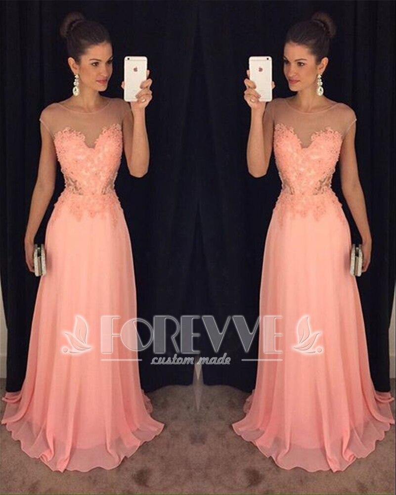 Elegant Coral Lace   Prom     Dress   2019 Sheer Appliques A-Line Formal Party   Dresses     Prom   Gowns Vestido De Festa Abendkleider Abiye